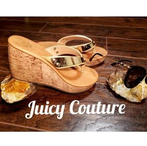 Juicy Couture gold mirror strap thong wedges